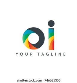 Initial Letter OI Rounded Design Logo