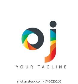 Initial Letter OJ Rounded Design Logo