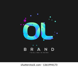 Initial letter OL logo with colorful background, letter combination logo design for creative industry, web, business and company. - Vector