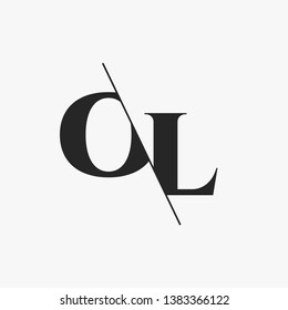 Initial Letter OL Monogram Sliced. Modern logo template isolated on gray background