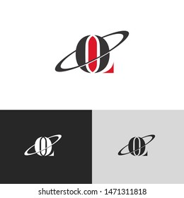 Initial Letter ol uppercase modern logo design template elements. red letter Isolated on black white grey background. Suitable for business, consulting group company.