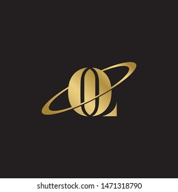 Initial letter ol uppercase modern logo design template elements. Gold letter Isolated on black  background. Suitable for business, consulting group company.