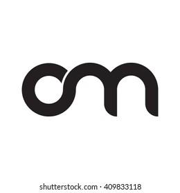 initial letter om linked round lowercase monogram logo black