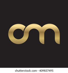 initial letter om linked round lowercase logo gold black background
