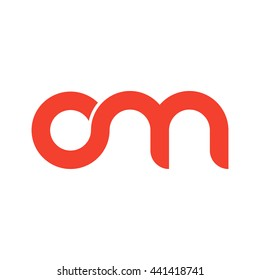 initial letter om linked round lowercase logo red