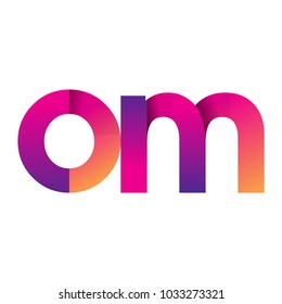 Initial Letter OM Logo Lowercase, magenta and orange, Modern and Simple Logo Design.