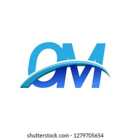 initial letter OM logotype company name colored blue and swoosh design. vector logo for business and company identity.