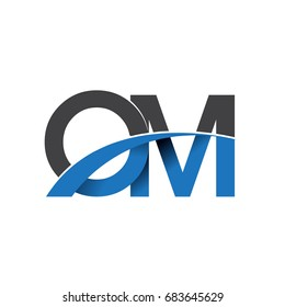 initial letter OM logotype company name colored blue and grey swoosh design. vector logo for business and company identity.