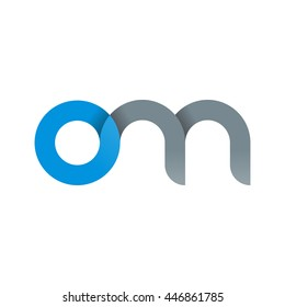 initial letter om modern linked circle round lowercase logo blue gray