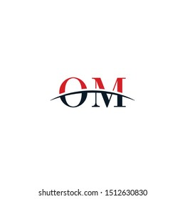 Initial letter OM, overlapping movement swoosh horizon logo company design inspiration in red and dark blue color vector