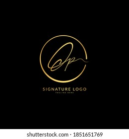 Initial letter Op. Monogram signature logo design template. Minimalis logo concept for business and company.