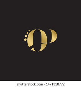 Initial letter op uppercase modern logo design template elements. Gold letter Isolated on black  background. Suitable for business, consulting group company.