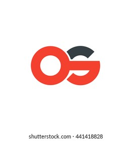 initial letter os linked round lowercase logo red