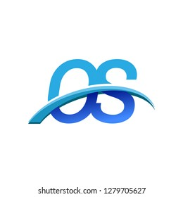 initial letter OS logotype company name colored blue and swoosh design. vector logo for business and company identity.