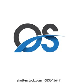 initial letter OS logotype company name colored blue and grey swoosh design. vector logo for business and company identity.