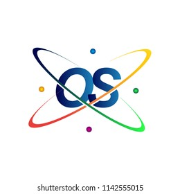 initial letter OS logotype science icon colored blue, red, green and yellow swoosh design. vector logo for business and company identity.