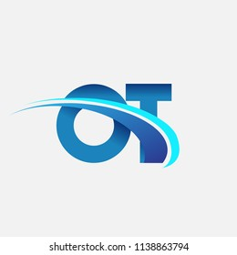 initial letter OT logotype company name colored blue and swoosh design. vector logo for business and company identity.