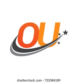 initial letter OU logotype company name colored orange and grey swoosh star design. vector logo for business and company identity.