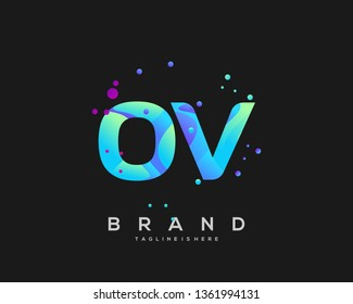 Initial letter OV logo with colorful background, letter combination logo design for creative industry, web, business and company. - Vector