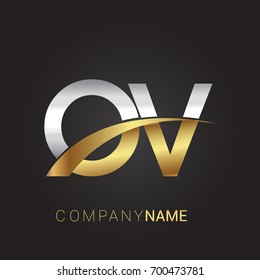 initial letter OV logotype company name colored gold and silver swoosh design. isolated on black background.