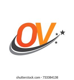 initial letter OV logotype company name colored orange and grey swoosh star design. vector logo for business and company identity.