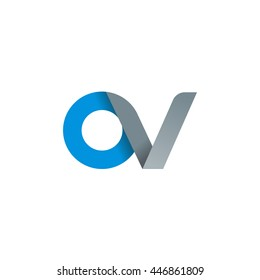 initial letter ov modern linked circle round lowercase logo blue gray