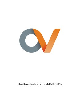 initial letter ov modern linked circle round lowercase logo orange gray