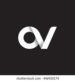 initial letter ov modern linked circle round lowercase logo white black