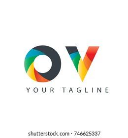 Initial Letter OV ounded Design Logo