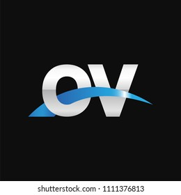 Initial letter OV, overlapping movement swoosh logo, metal silver blue color on black background