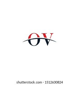 Initial letter OV, overlapping movement swoosh horizon logo company design inspiration in red and dark blue color vector