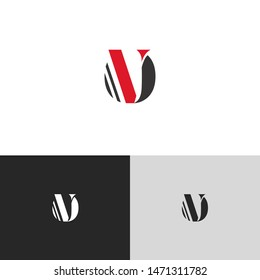 Initial Letter ov uppercase modern logo design template elements. red letter Isolated on black white grey background. Suitable for business, consulting group company.