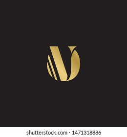 Initial letter ov uppercase modern logo design template elements. Gold letter Isolated on black  background. Suitable for business, consulting group company.