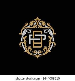 Initial letter P and B, PB, BP, decorative ornament emblem badge, overlapping monogram logo, elegant luxury silver gold color on black background