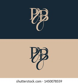 Initial letter P & B PB luxury art vector mark logo, gold color on black background.