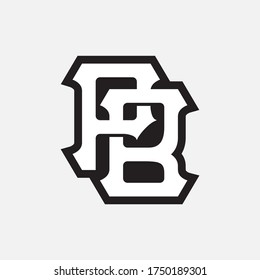 Initial letter P, B, PB or BP overlapping, interlock, monogram logo, black and white color on white background