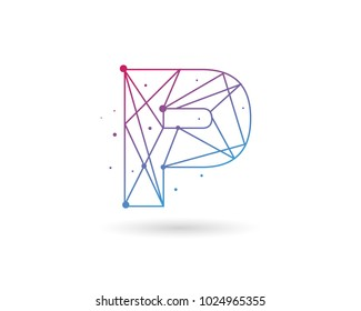 Initial Letter P Connected Circle Network Logo Design Template Element