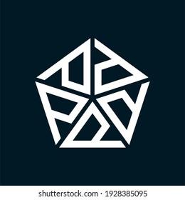 Initial letter p or d logo template with geometric pentagonal structure illustration in flat design monogram symbol