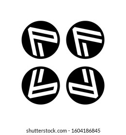 Initial letter P, F, b, d logo template with arrow head or play button triangle icon in flat design monogram illustration