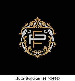 Initial letter P and F, PF, FP, decorative ornament emblem badge, overlapping monogram logo, elegant luxury silver gold color on black background