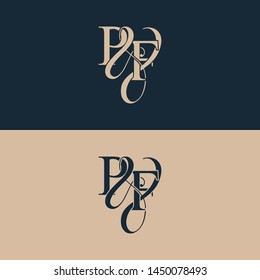 Initial letter P & F PF luxury art vector mark logo, gold color on black background.