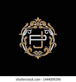 Initial letter P and J, PJ, JP, decorative ornament emblem badge, overlapping monogram logo, elegant luxury silver gold color on black background