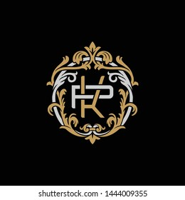 Initial letter P and K, PK, KP, decorative ornament emblem badge, overlapping monogram logo, elegant luxury silver gold color on black background