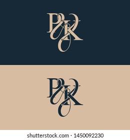 Initial letter P & K PK luxury art vector mark logo, gold color on black background.
