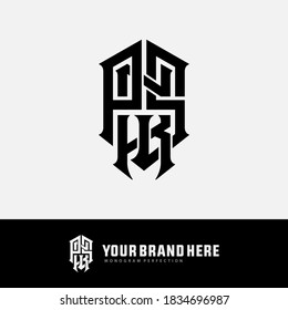 Initial letter P, N, K, S, PNKS, PNSK, PSNK, NKPS, NPKS, KPNS or KNPS  overlapping, interlock, monogram logo, black color on white background
