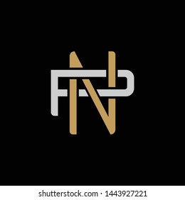 Initial letter P and N, PN, NP, overlapping interlock logo, monogram line art style, silver gold on black background