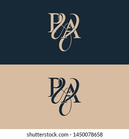 Initial letter P & A PA luxury art vector mark logo, gold color on black background.