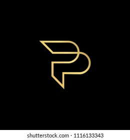 Initial letter P PP minimalist art monogram shape logo, gold color on black background