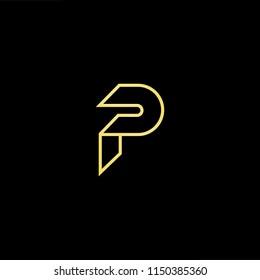 Initial letter P PP minimalist art monogram shape logo, gold color on black background