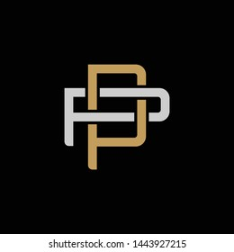 Initial letter P and P, PP, overlapping interlock logo, monogram line art style, silver gold on black background